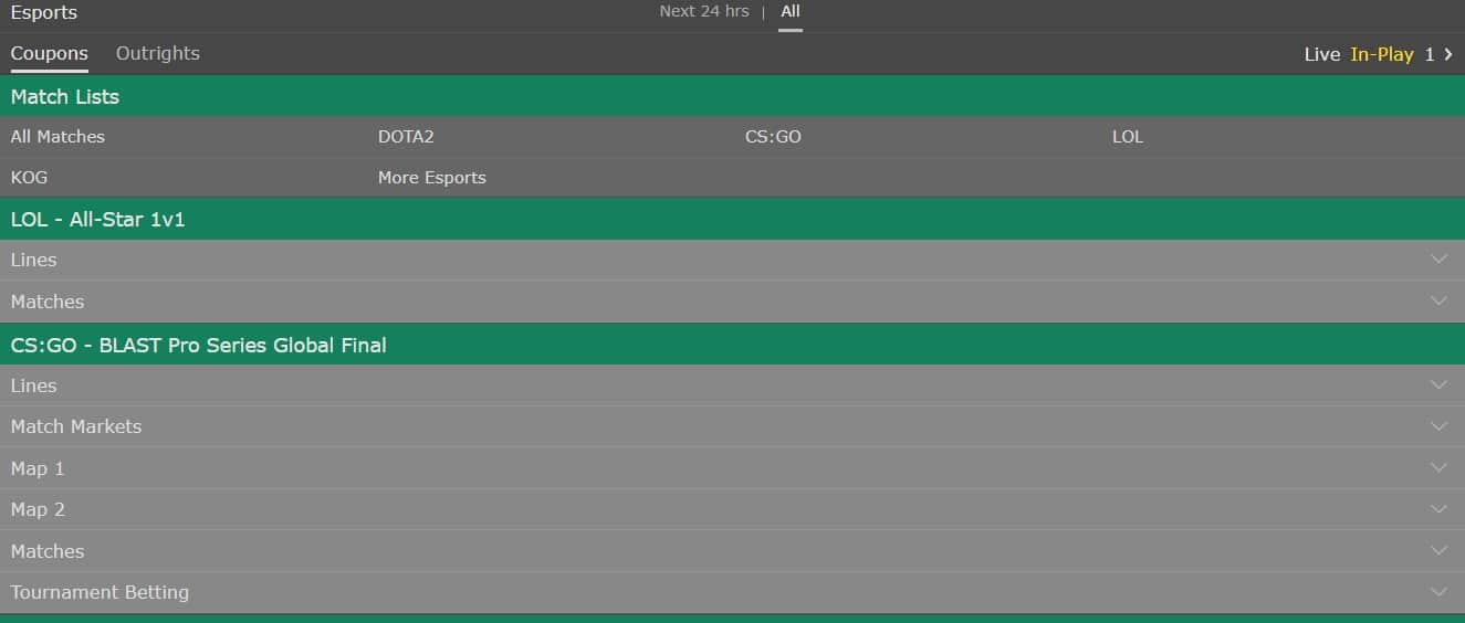 Bet365 eEports Section