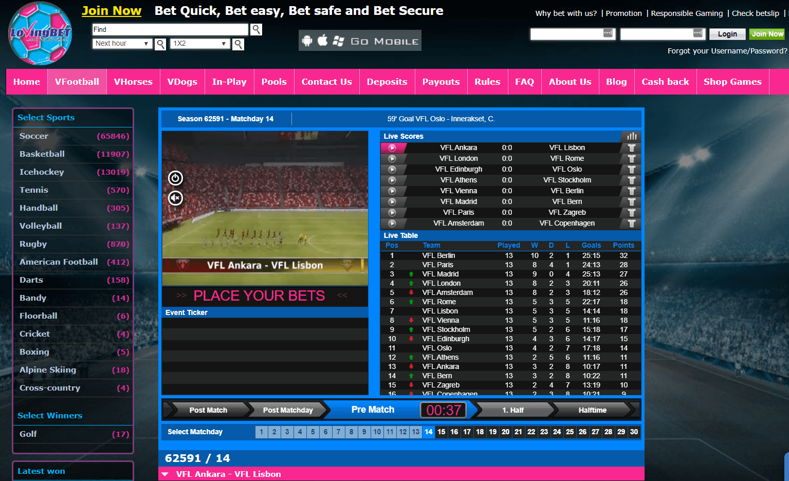 lovingbet virtual sports homepage