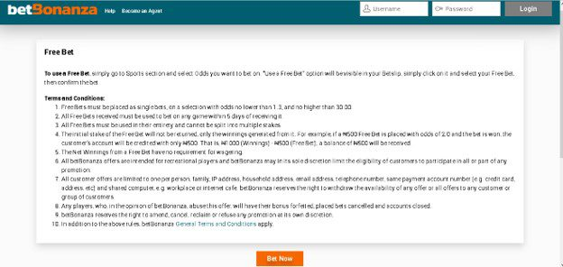 A screenshot of a bookmaker's terms and conditions relating to free bets