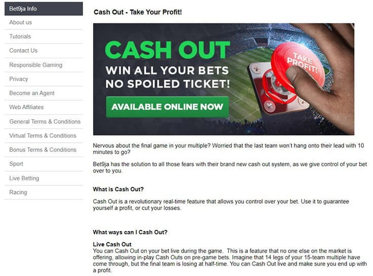 Cashout at Bet9ja - Bet9ja Sports Betting Review