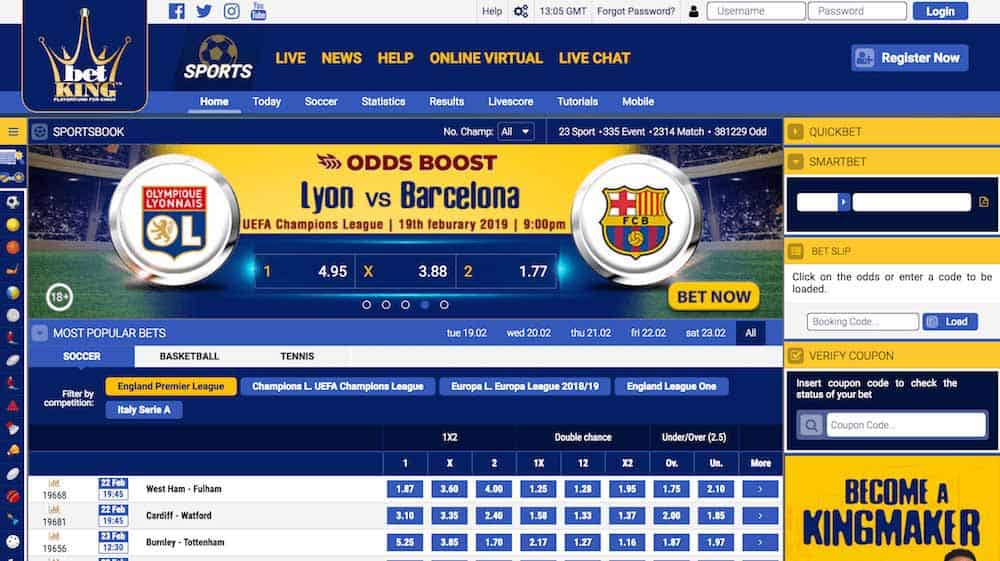 Homepage at Betking Nigeria Betting