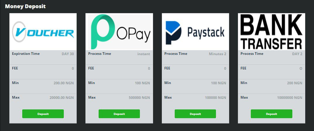 screenshot of betland payment methods