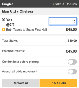 betfair both teams to score