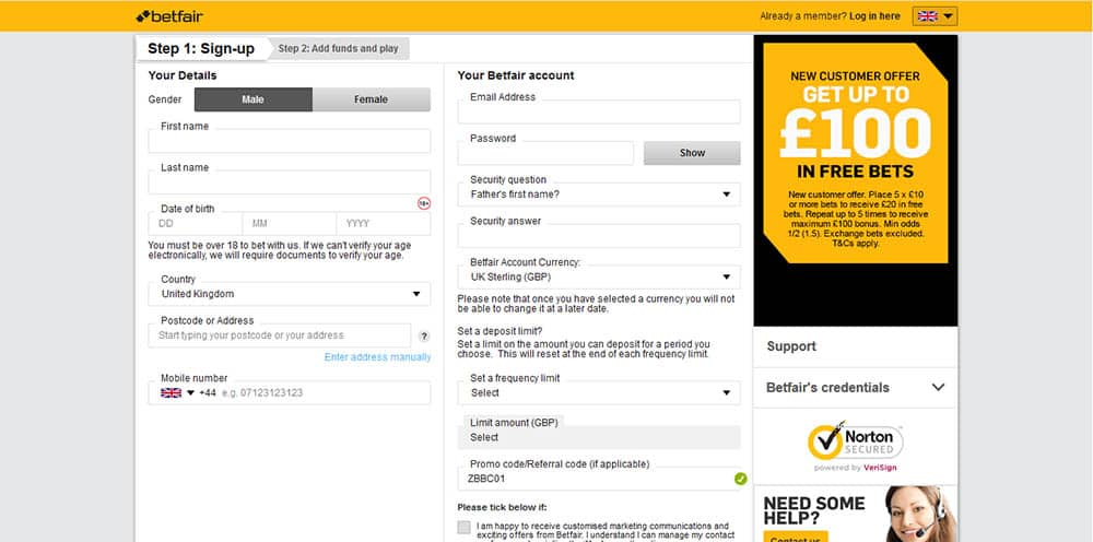 Sign Up Form - Betfair Sport Review