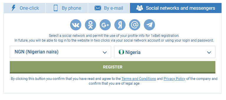 Registration Process By Social Network - 1xBet Sports Betting