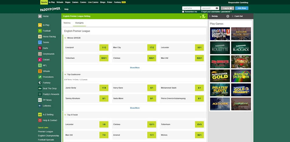 Outrights for Top Goalscorer at Paddypower outright betting