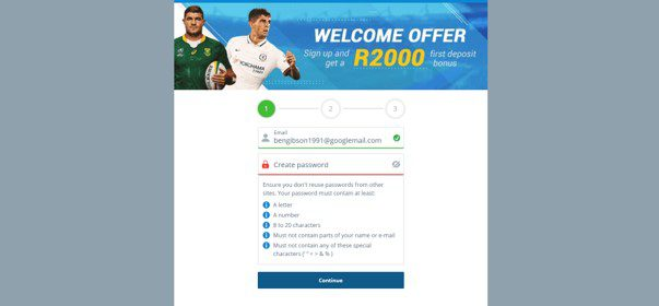 sportingbet first step of registration